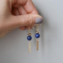bijoux, boucle d'oreilles, créations by sand, made in france, pierres semi précieuses, lapis lazuli, Sandcréations