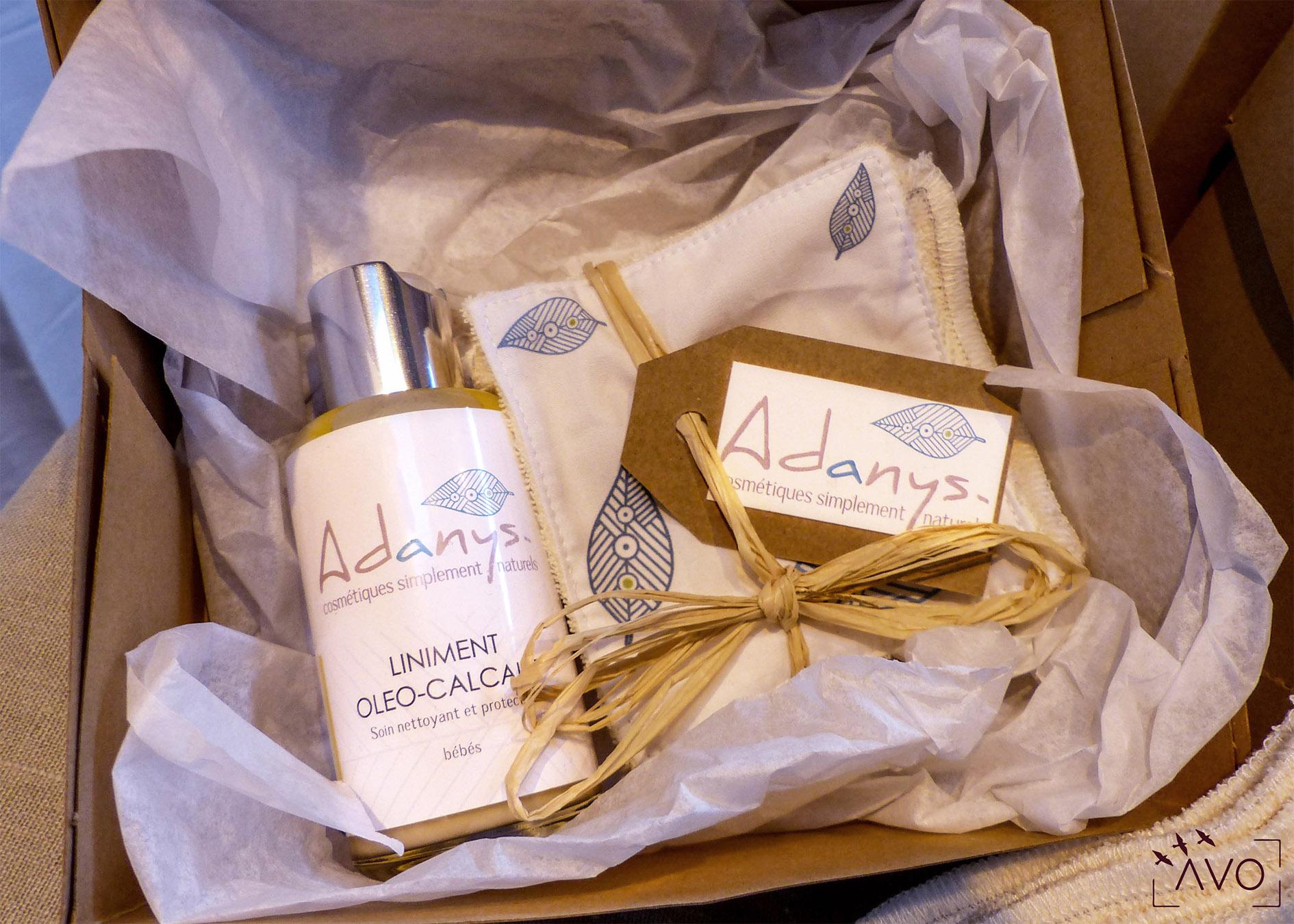 adanys cosmétiques liniment bain lingette huiles essentielles soin ingrédients biologiques auvergne bio crème huile coffret