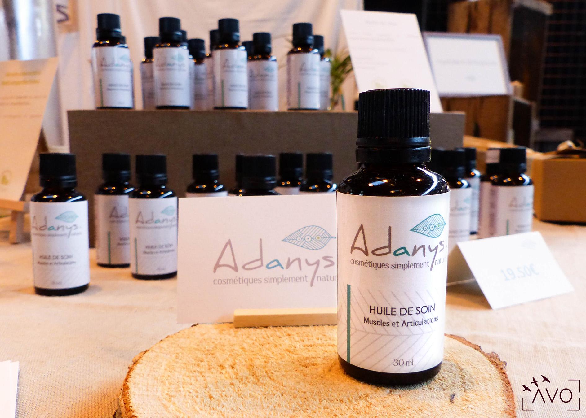 adanys cosmétiques liniment bain lingette huiles essentielles soin ingrédients biologiques auvergne bio crème huile muscles