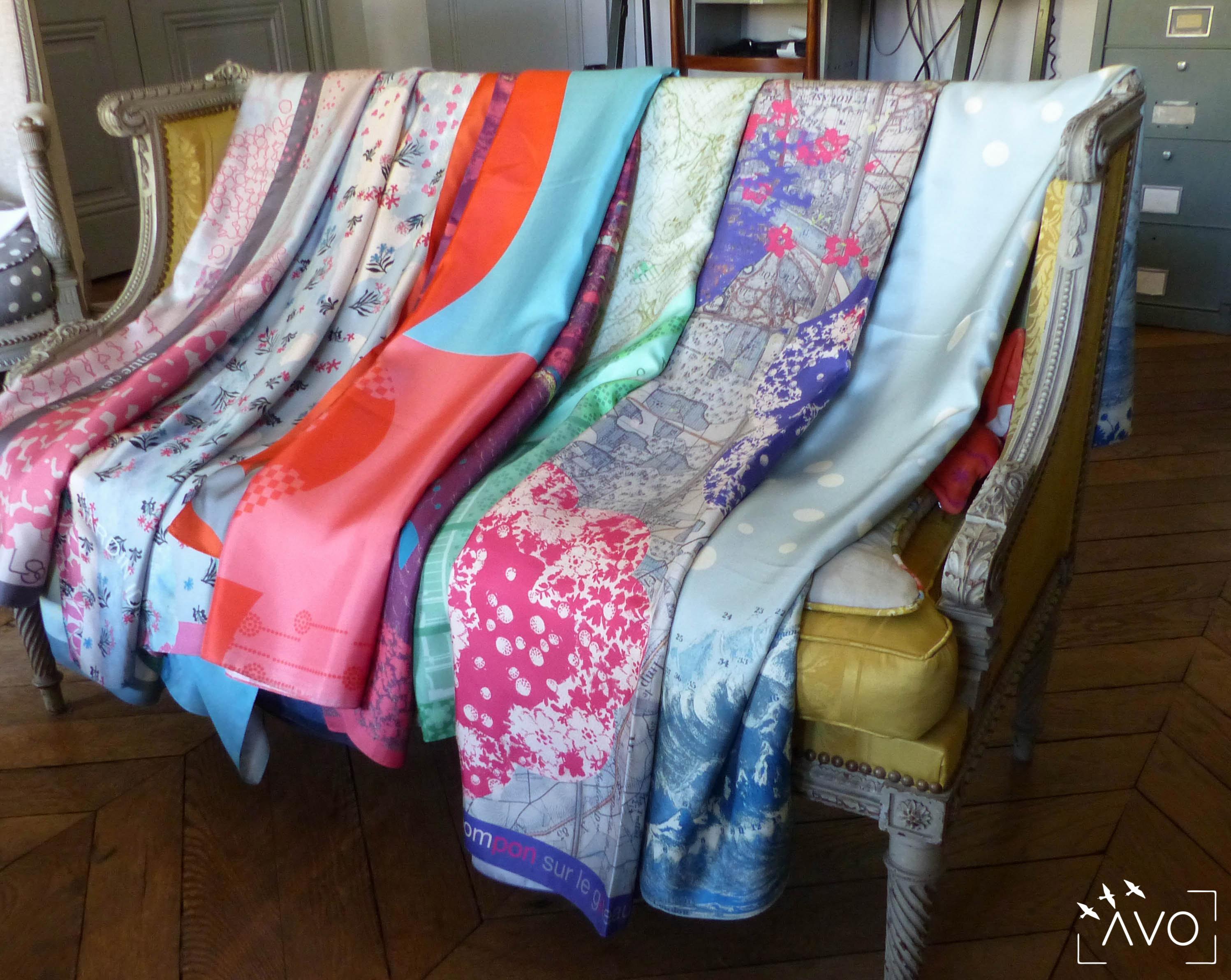 lso créations foulards lyon soie détail histopire poésie couleur