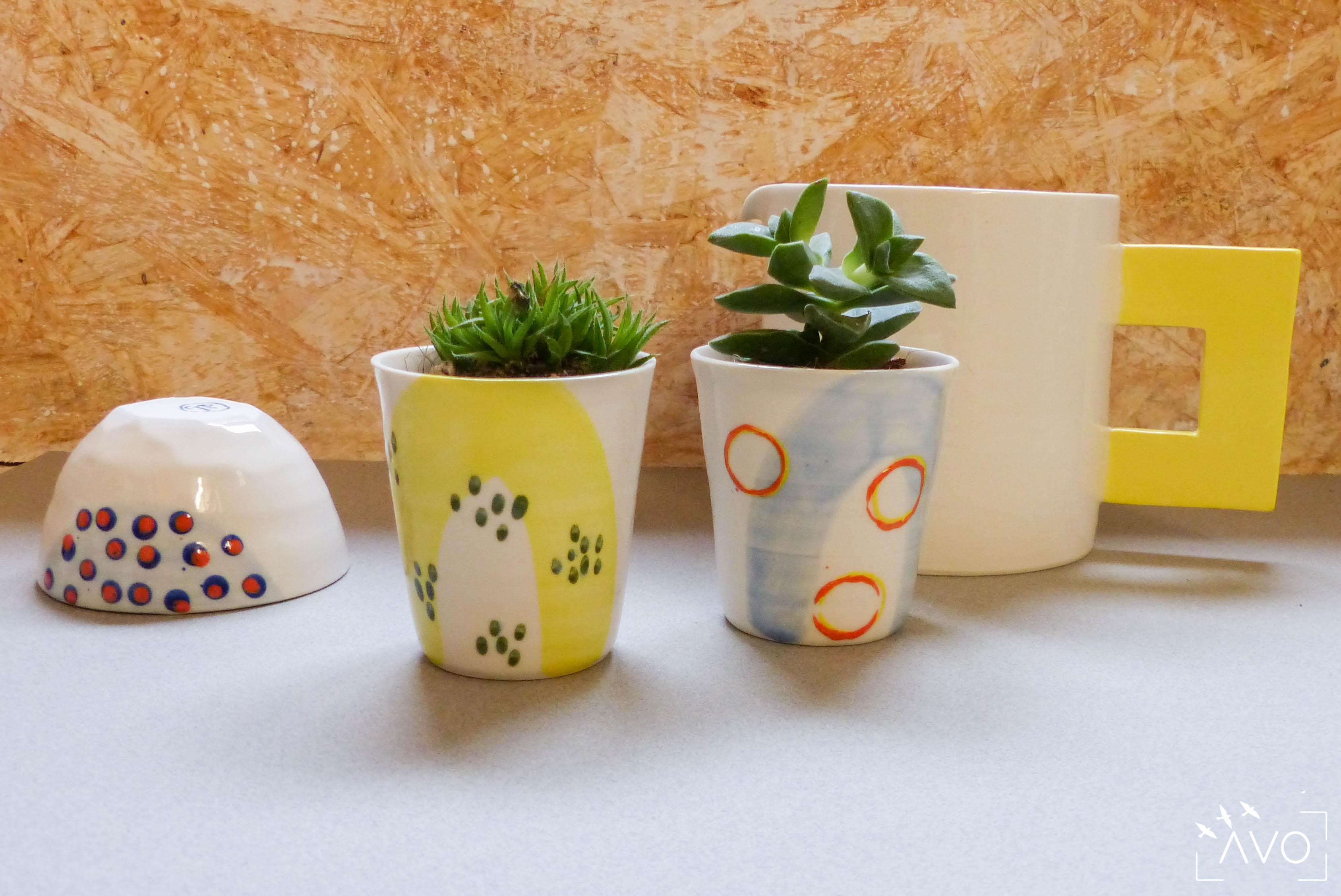 céramique tasse pois porcelaine caluire lyon abcéramique atelier blanc couleur rond pois trace